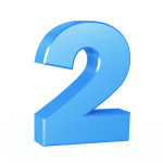 three-dimensional Figure Number in blue on a white background. two